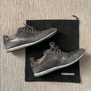 Magnanni Grey Leather Sneaker Size 10
